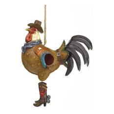 Polyresin And Metal Bird House Cowboy Rooster