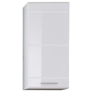 Wall Mounted Storage Cabinet, White High Gloss Finish, Single Door Design
