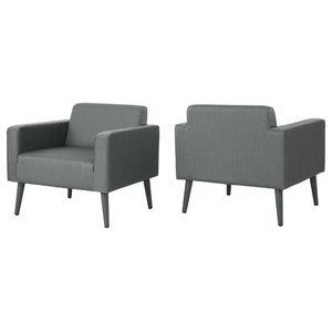 GDF Studio Rene Outdoor Mesh Upholstered Club Chairs, Dark Gray, Set of 2