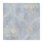 Blue and Cream Weathered Damask Wallpaper, Single Roll