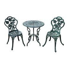Aosom - 3-Piece Outdoor Cast Iron Patio Furniture Dining Chair and Table Bistro Set - Outdoor Dining Sets