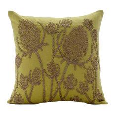 "Paddy Millet Green Euro Sham, Cotton Linen 26""x26"" Euro Pillow, Greentini"