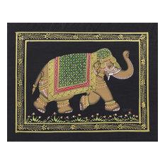 Midnight Majestic Elephant Miniature Painting