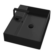 Rectangular Matte Black Ceramic Wall Mounted or Vessel Sink, One Hole