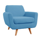 Mid Century Modern Linen Fabric Living Room Accent Chair, Blue