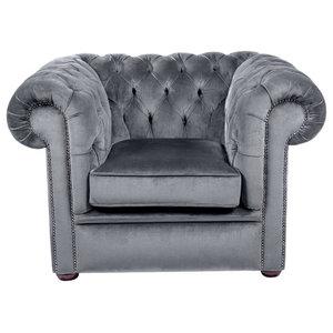 Velvet Chesterfield Club Chair, Graphite