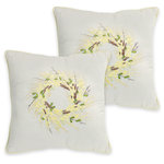 Melrose International - Forsythia Wreath, Set Of 2 Pillow, Beige/Yellow - Crisp white pillow with Forsythia wreath in center. Shades of yellow, green and brown pop of the white background. Thin yellow border around the edge.