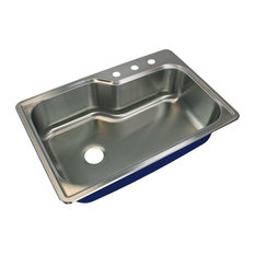 """Transolid Meridian 33""""x22 1/64""""x9"""" Single Drop-in SS Kitchen Sink, 3 Holes"""