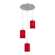 50 most popular red mini pendant lights for 2018 houzz destination lighting modern 3 light pendant light with solid red glass satin nickel aloadofball Image collections