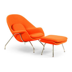 Cashmere Womb Chair and Ottoman 2-Piece Set, Orange