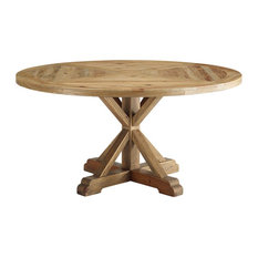 """Modway Stitch 59"""" Round Pine Wood Dining Table With Brown Finish EEI-3494-BRN"""