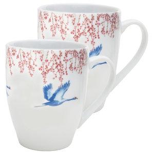 Cherry Blossom and Lucky Cranes Mugs, Set of 2