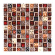 """Red Beige Glass Ceramic Backsplash Tile, 12""""x12"""""""