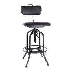 "Toledo Matte Black Padded Seat Adjustable High Back Bar Chair 26.5 - 31"""
