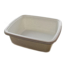 Plastic Dish Pan Basin, Whtie With Dots