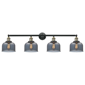 Large Bell 4-Light Bath Fixture, Black Antique Brass, Glass: Plated Smoked