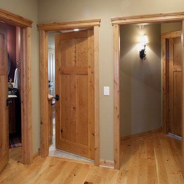 Knotty Alder stile & rail wood interior door with flat panels