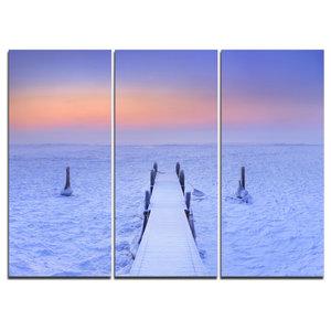 """""""Jetty in Frozen Lake Netherlands"""" Wall Art, 3 Panels, 36""""x28"""""""