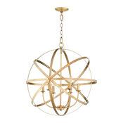 Celeste 6-Light Sphere Chandelier, Aged Brass