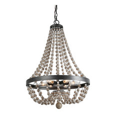 LNC 6-light Chandeliers Adjustable Aged Wood Beaded Black Basket  Light