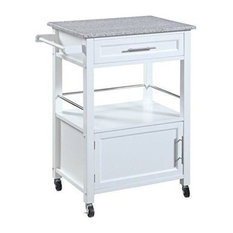 Pemberly Row Kitchen Cart With Granite Top In White