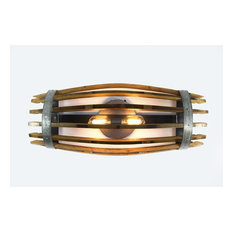 Craftsman Collection, Half Catch, Wine Barrel Stave Wall Sconce Or Vanity
