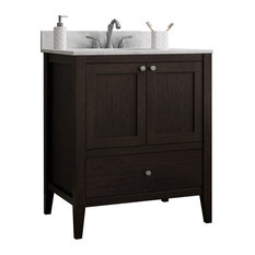 Vanguard Bathroom Vanity With 1 Bottom Drawer, Espresso, 24""
