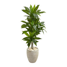 Artificial Plant, 4 Foot Dracaena with Sand Colored Planter Silk Plant