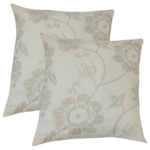The Pillow Collection Pallavi Floral Persimmon Down Filled Throw Pillow