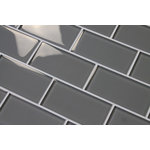 "Rocky Point Tile Co - Pebble Gray 3x6 Glass Subway Tile, 3""x6"" Tiles, Set of 8 - A medium gray. We get a lot of people asking for a true gray. This is probably as close as you get. A great choice for your kitchen backsplash! These tiles are sold loose packed giving you the option to arrange them in the pattern of your choice."