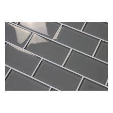 """Pebble Gray Glass Subway Tile, 3""""x6"""" Tiles, Set of 8"""
