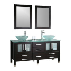Cambridge 63-inch Solid Wood and Glass Double Vessel Sink Vanity Set, Brushed