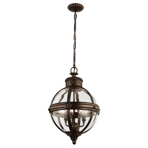 Adams Pendant Chandelier, Bronze, 3 Lights