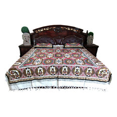 Mogul Interior - Cotton Handloom Bedspreads Bohemian Inspired Bed Cover 3 Pc Set - Sheet And Pillowcase Sets