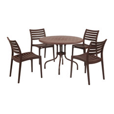 5-Piece Delfino Table With 4 Carina Chairs Set, Brown