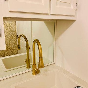 Gold & White Laundry Room