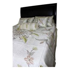 Hand Painted Floral 7-Piece Duvet Cover Set, Beige, King