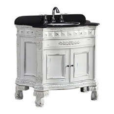 """OVE Decors York 36"""" Single Sink Vanity With Carrara Marble Top, Antique White"""