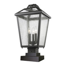 Z-LITE 539PHBS-SQPM-BK 3 Light Outdoor Pier Mount Light
