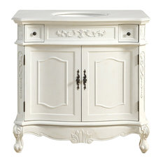 "Elegant Furniture & Lighting - 36"" Single Bathroom Vanity Set, Antique White - Bathroom"