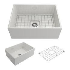 Bocchi Contempo Apron Front Fireclay 27-Inch Single Bowl Kitchen Sink in White