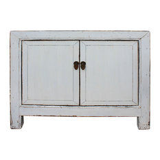 Oriental Simple Distressed Off White Credenza Sideboard Table Cabinet Hcs5020