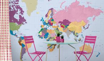 Colourful Rainbow World Map Wallpaper