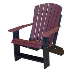 Wildridge Heritage Recycled Plastic Adirondack Chair, Cherry Wood Black Frame