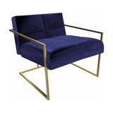Federico Armchair, Midnight Blue Velvet, Brass Frame