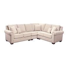 Bowery Hill   Bowery Hill Fabric Nailhead Sectional Sofa, Sandstone   Sectional  Sofas