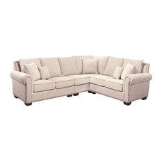 Bowery Hill Fabric Nailhead Sectional Sofa Sandstone Sofas