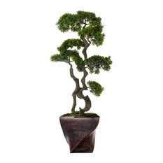 "Artificial Faux Plastic 55"" Tall Bonsai Tree and Fiberstone Planter"