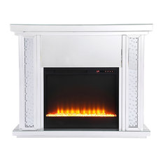 Crystal Mirrored Mantle With Crystal Insert Fireplace