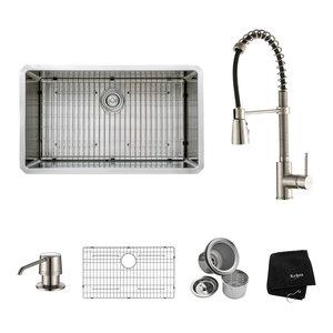 Kraus 32 Inch Undermount Stainless Steel 16 Gauge Kitchen Sink Contemporary Kitchen Sinks By Overstock Com